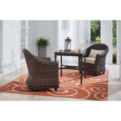 Camden Dark Brown 3-Piece Wicker Outdoor Bistro Set with Sunbrella Antique Beige Cushions