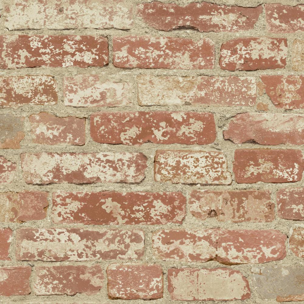 28.18 sq. ft. Stuccoed Red Brick Peel and Stick Wallpaper