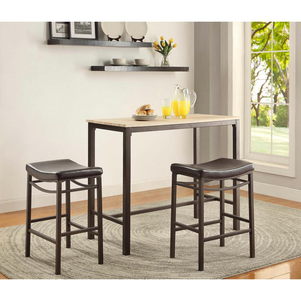 Linon Home Decor Betty 3 Piece Rustic Brown Bar Table Set
