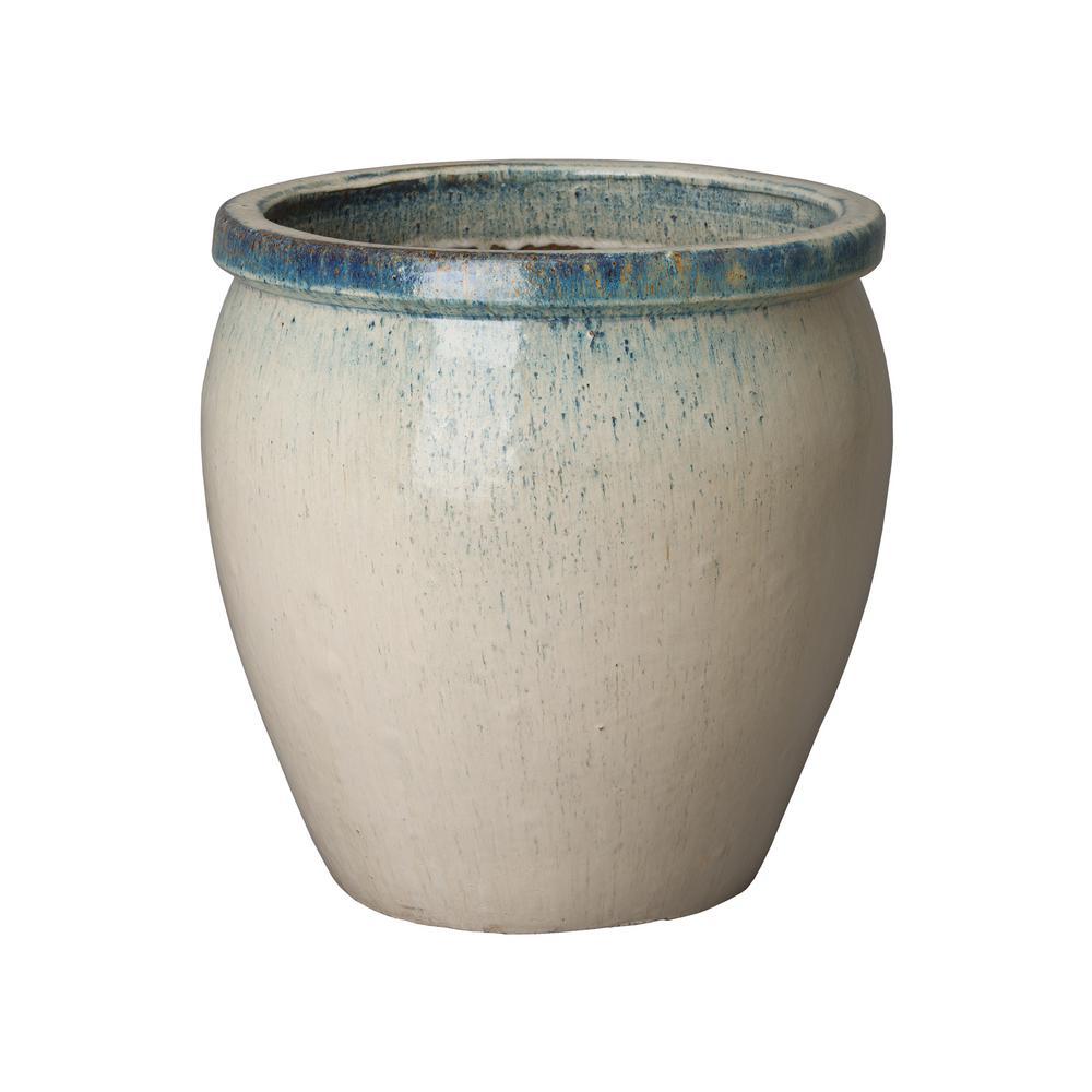 19 in. Dia Round Distressed White Ceramic Planter