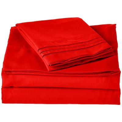 1500 Series 4-Piece Red Triple Marrow Embroidered Pillowcases Microfiber Twin XL Size Bed Sheet Set