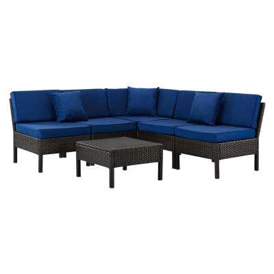 Florence Brown 6-Piece Wicker Patio Sectional Seating Set with Navy Cushions