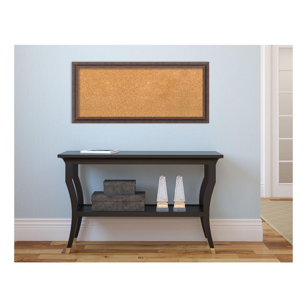 Distressed Rustic Brown Wood 33 in. x 15 in. Framed Cork Memo Board