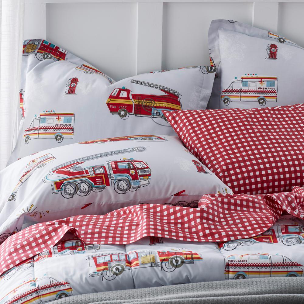 Firetrucks Graphic Organic Cotton Percale Comforter