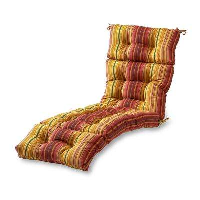 Kinnabari Stripe Outdoor Chaise Lounge Cushion