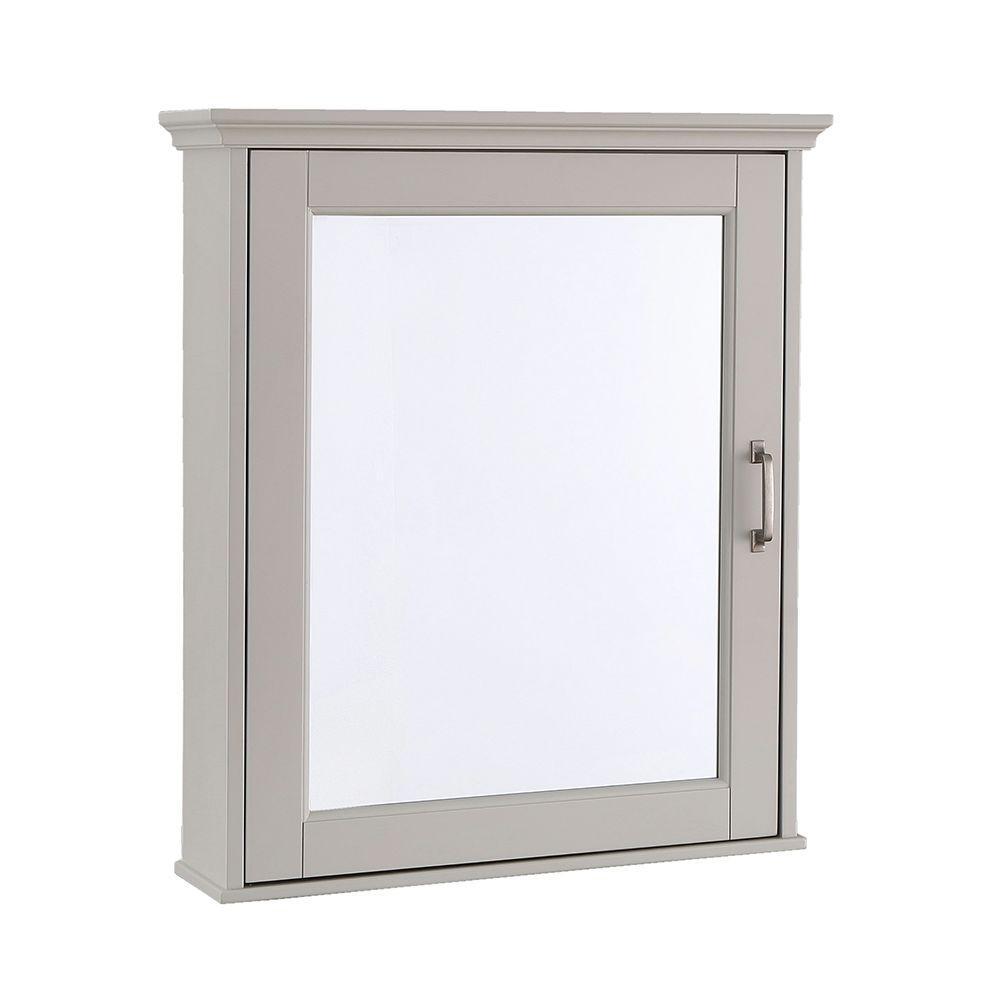 Ashburn 23 in. W x 28 in. H x 8 in. D Framed Wood Surface-Mount Bathroom Medicine Cabinet in Grey