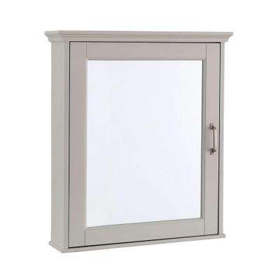 Ashburn 23 in. W x 28 in. H x 8 in. D Framed Wood Surface-Mount Bathroom Medicine Cabinet in Grey
