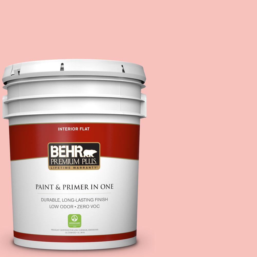 BEHR Premium Plus 5-gal. #160A-3 Pink Hydrangea Zero VOC Flat Interior Paint