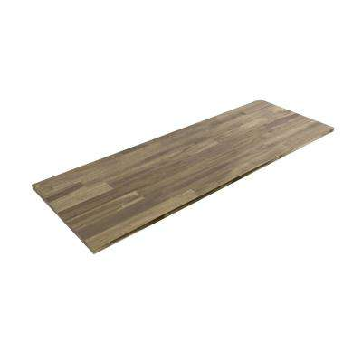 8 ft. L x 2 ft. 1.5 in. D x 1 in. T Butcher Block Countertop in Oiled Acacia with Dusk Grey Wood Stain Finish