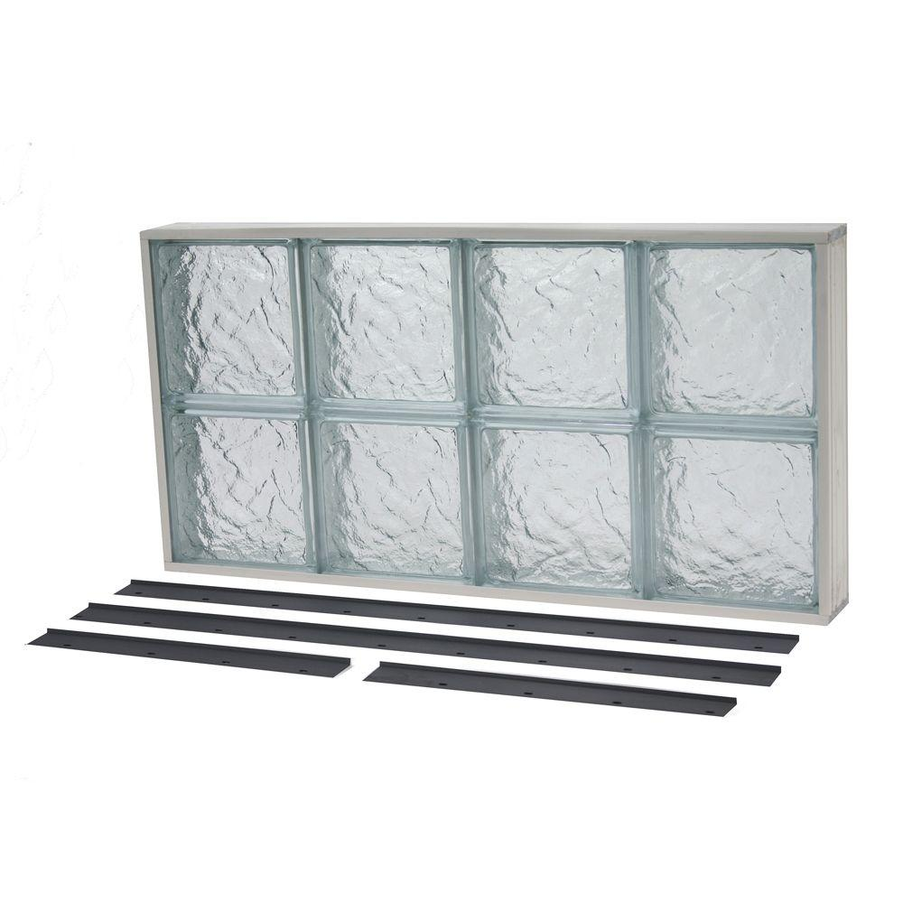 31.625 in. x 15.625 in. NailUp2 Ice Pattern Solid Glass Block