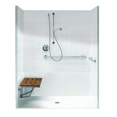 FreedomLine 63.8 in. x 37.1 in. x 77.8 in. 4-Piece Shower Stall with Left Seat and Center Drain in White