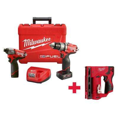 M12 FUEL 12-Volt Cordless Lithium-Ion 1/2 in. Hammer Drill/Driver and Impact Combo Kit with Free M12 Stapler