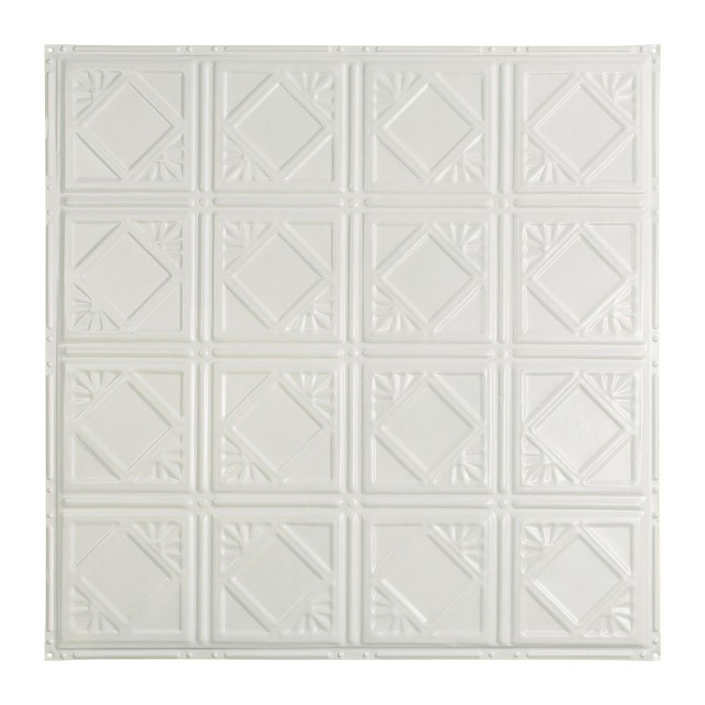 Great Lakes Tin Ludington 2 ft. x 2 ft. Nail-up Tin Ceiling Tile in Matte White