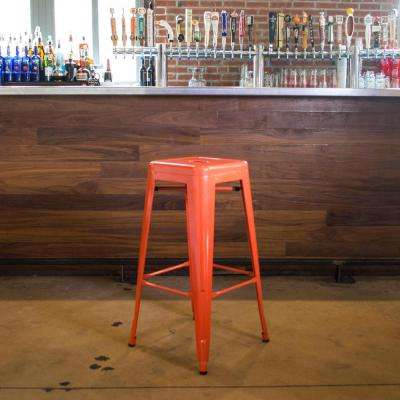 Loft Style 30 in. Stackable Metal Bar Stool in Orange