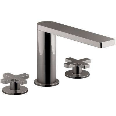 Composed 2-Handle Deck-Mount Roman Tub Faucet with Cross Handles in Titanium
