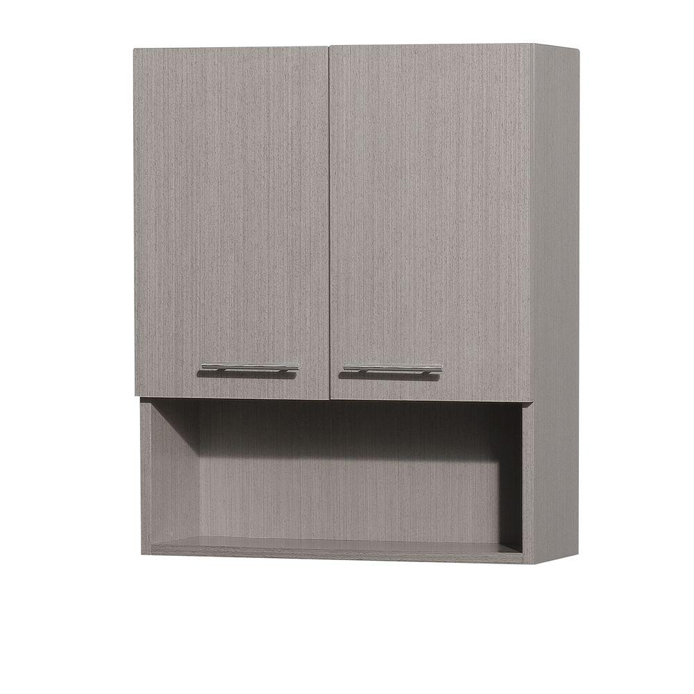 Wyndham Collection Centra 24 In W X 29 H 8 1 2 D Bathroom Storage Wall Cabinet Grey Oak