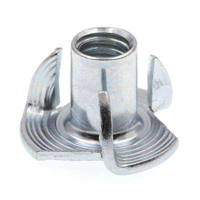 1/4 in.-20 x 7/16 in. 3-Prong Zinc Plated Steel T-Nuts (10-Pack)