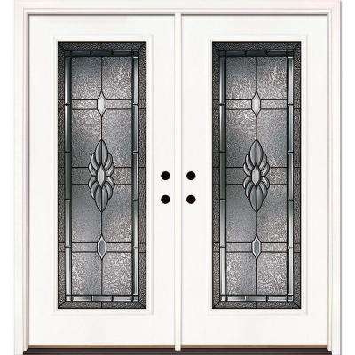 74 in. x 81.625 in. Sapphire Patina Full Lite Unfinished Smooth Right-Hand Inswing Fiberglass Double Prehung Front Door