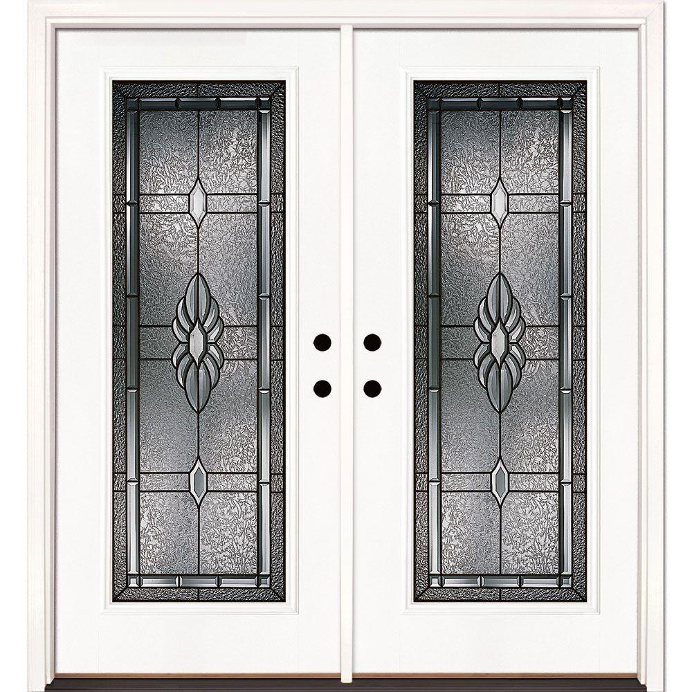 Feather River Doors 66 In X 81 625 In Sapphire Patina Full Lite Unfinished Smooth Right Hand Inswing Fiberglass Double Prehung Front Door 6h3171 400 The Home Depot