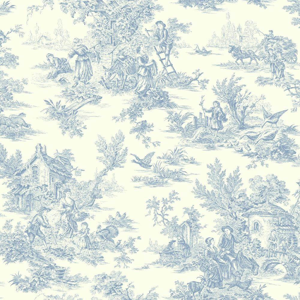 Black And White Toile Rug: York Wallcoverings Champagne Toile Wallpaper-AT4229