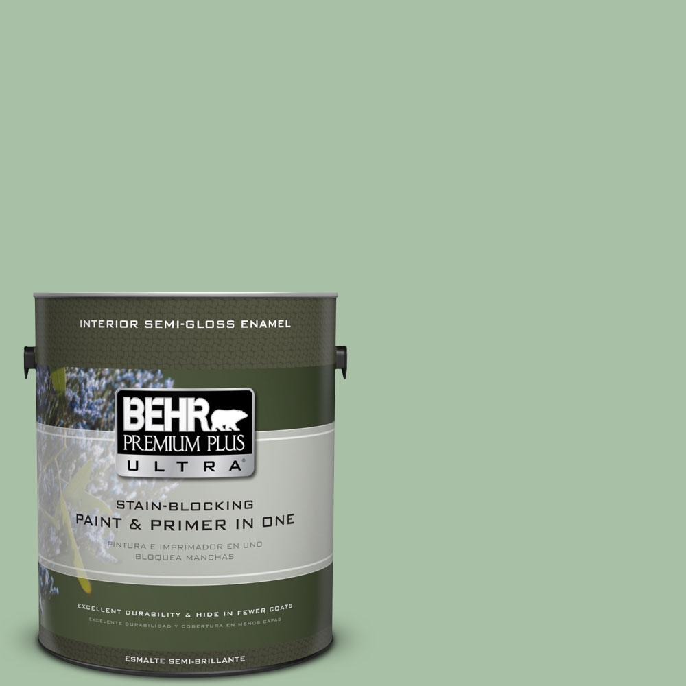 BEHR Premium Plus Ultra 1-gal. #S400-4 Azalea Leaf Semi-Gloss Enamel Interior Paint
