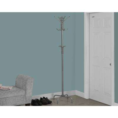 Silver Metal Finish 8-Hook Coat Rack