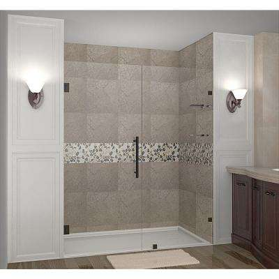 Nautis GS 65 in. x 72 in. Completely Frameless Hinged Shower Door with Glass Shelves in Oil Rubbed Bronze