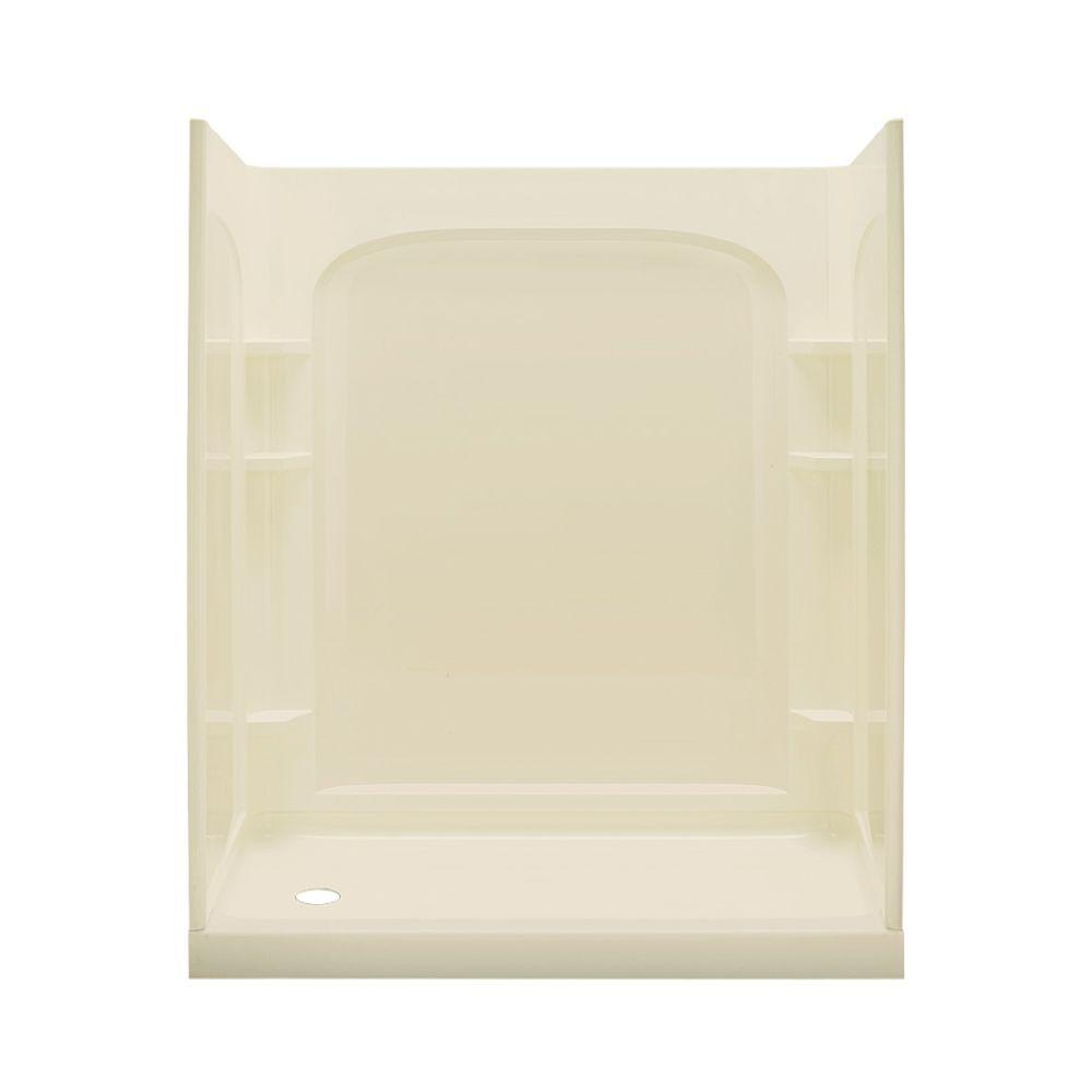 Ensemble Curve 30 in. x 60 in. x 75-3/4 in. Shower Kit with Left Drain in Almond-DISCONTINUED