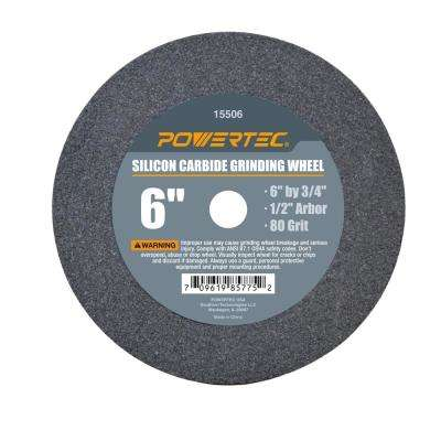 6 in. x 3/4 in. 80-Grit 1/2 in. Arbor Silicon Carbide Grinding Wheel