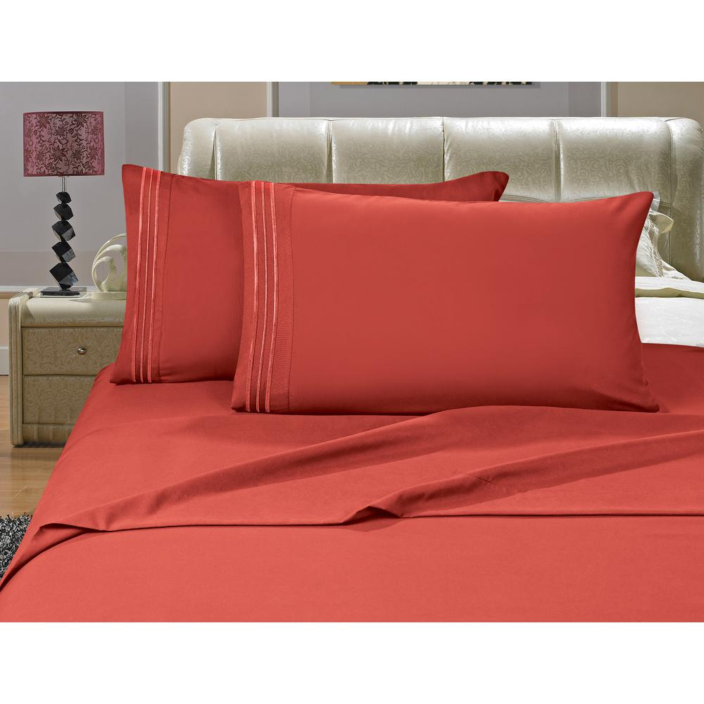 Elegant Comfort 1500 Series 4 Piece Rust Triple Marrow Embroidered  Pillowcases Microfiber King Size Bed