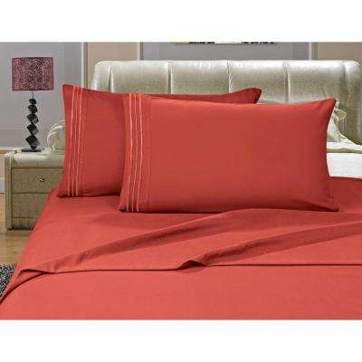 1500 Series 4-Piece Rust Triple Marrow Embroidered Pillowcases Microfiber Split King Size Bed Sheet Set