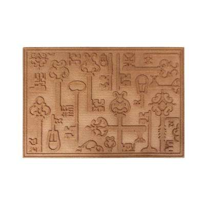 A1HC Key Decorative Design Durable Large Heavy Duty Non-Slip Beige 24 in. x 36 in. Entry, Patio, Multi-Use Door Mat