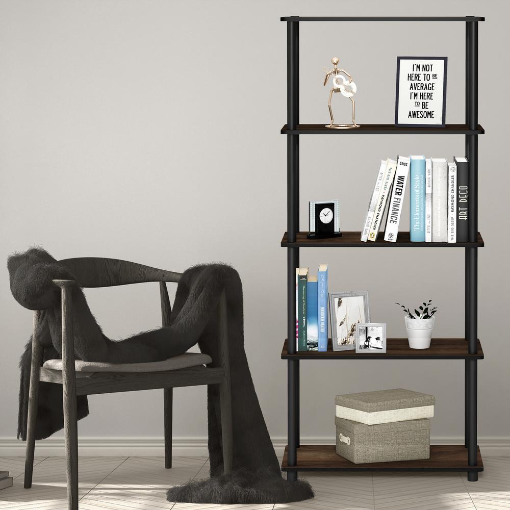 Furinno Furinno Turn-N-Tube Columbia Walnut/Black 5-Shelf Multipurpose Display Shelf