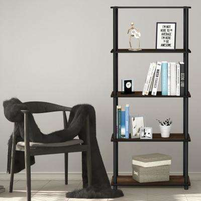 Turn-N-Tube Columbia Walnut/Black 5-Shelf Multipurpose Display Shelf