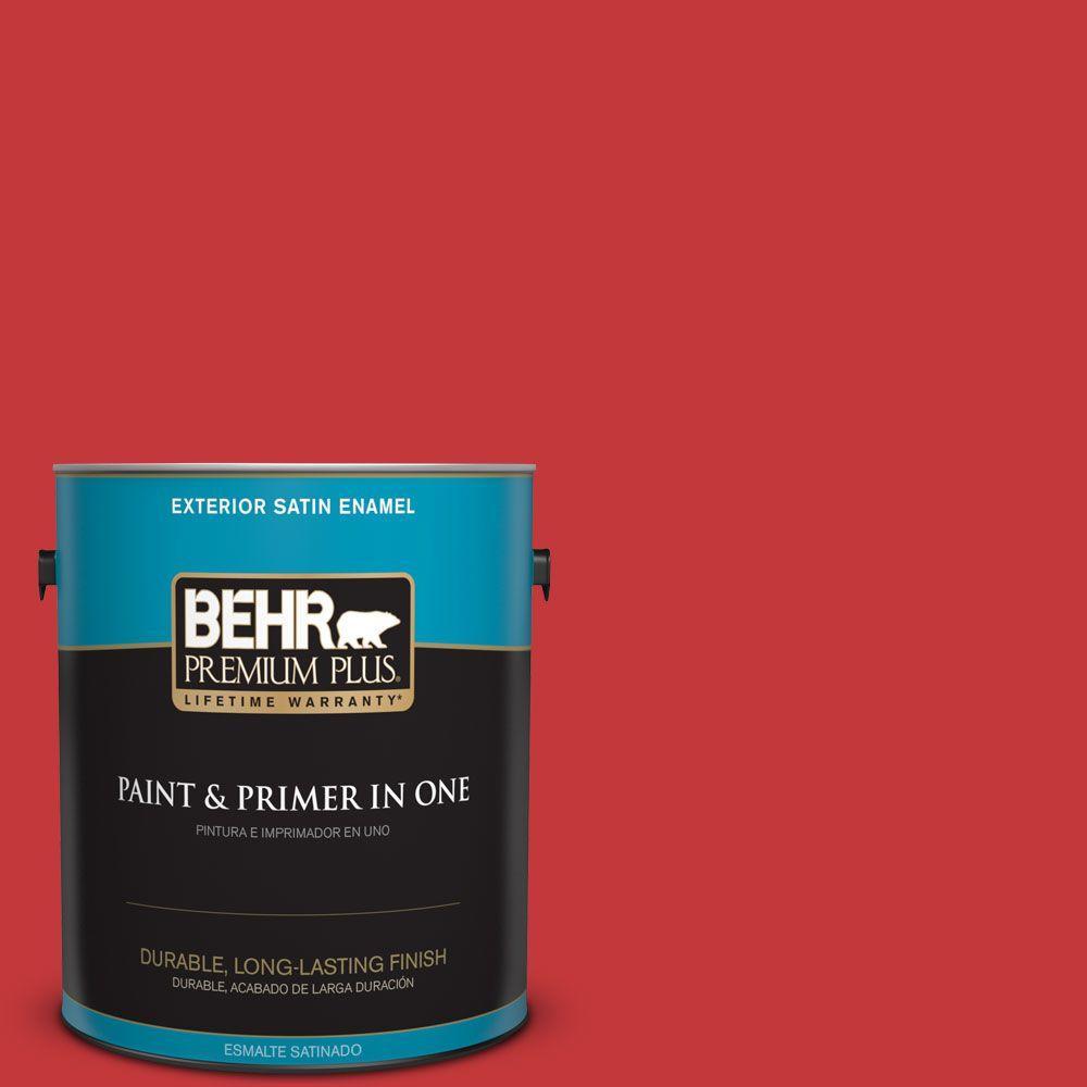 BEHR Premium Plus 1-gal. #150B-7 Poinsettia Satin Enamel Exterior Paint