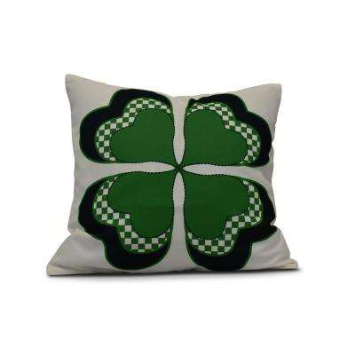 16 in. 4 Leaf Clover Holiday Floral Print Pillow in Green