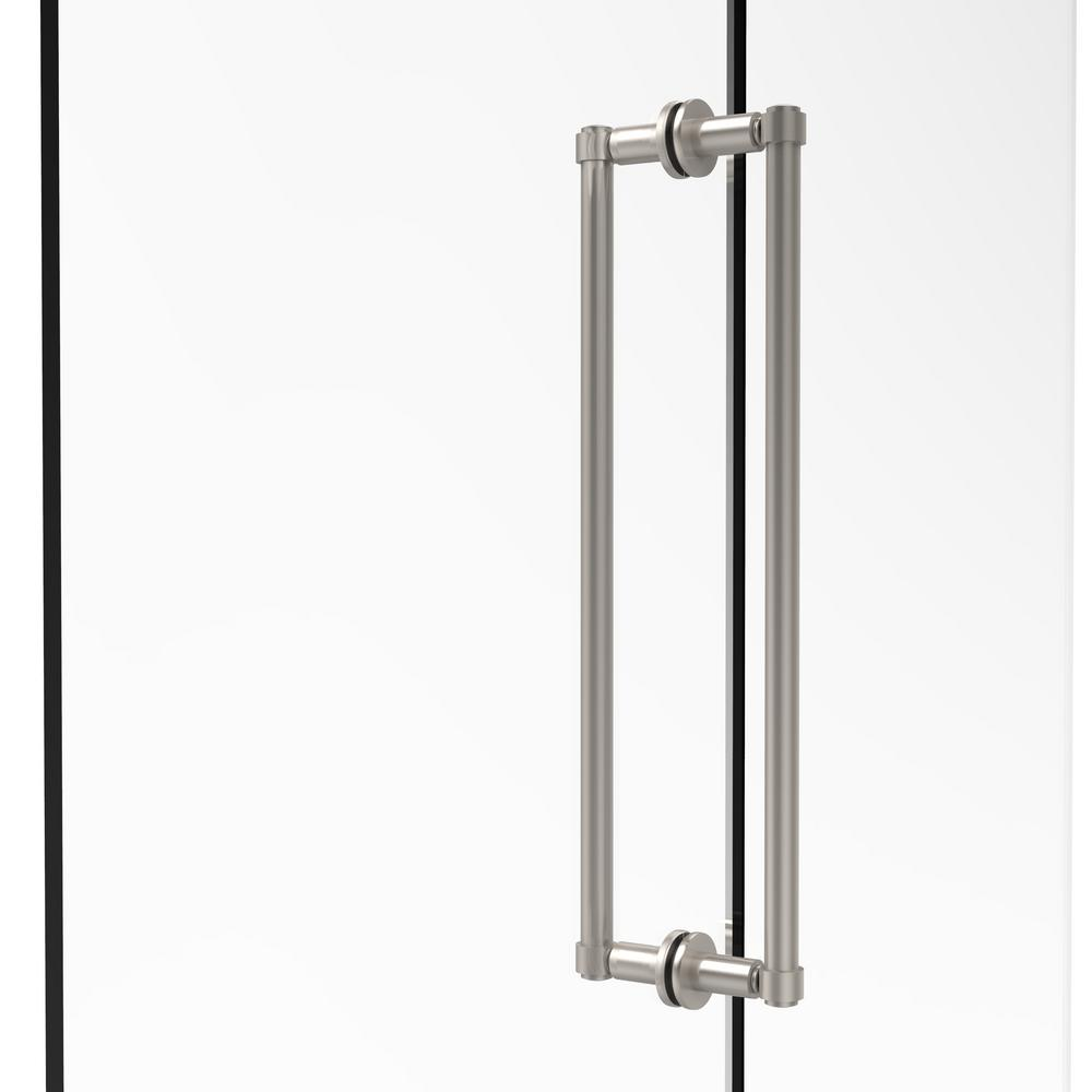 Contemporary 18 in. Back-to-Back Shower Door Pull in Satin Nickel