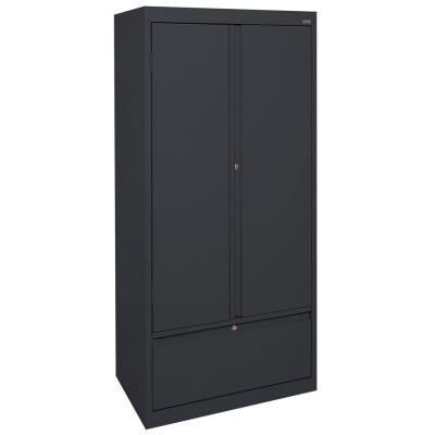 Systems Series 30 in. W x 64 in. H x 18 in. D Storage Cabinet with File Drawer in Black