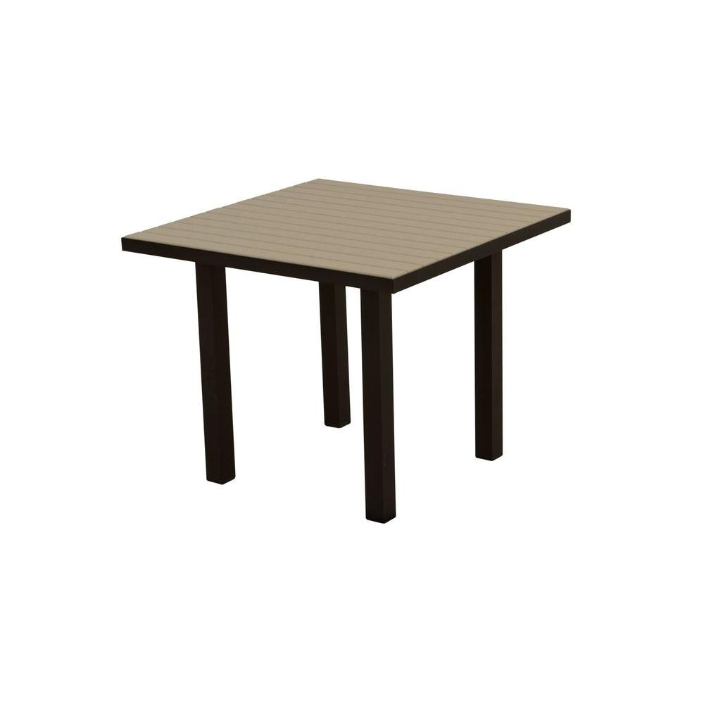 Euro Textured 36 in. Black Square Patio Dining Table with Sand