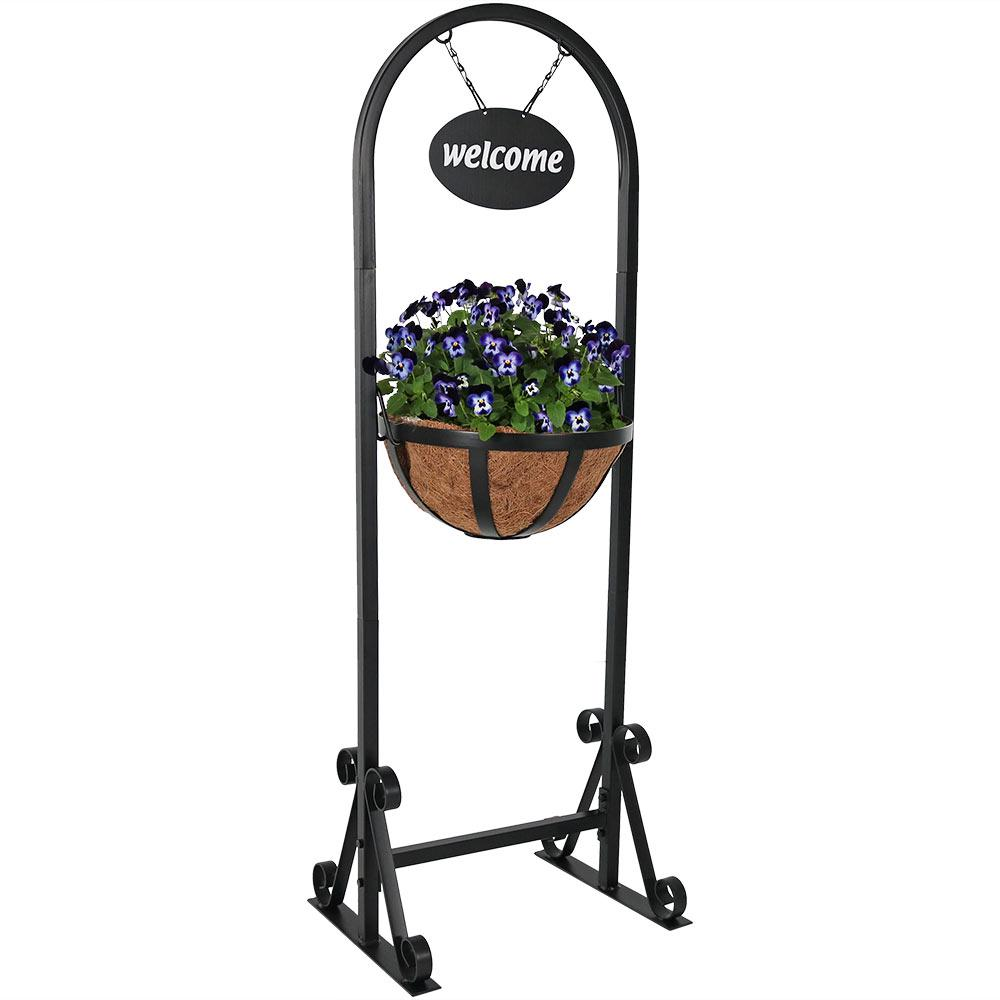 Iron Welcome Sign And Hanging Basket Planter Stand