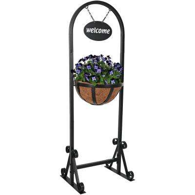 45 in. Iron Welcome Sign and Hanging Basket Planter Stand