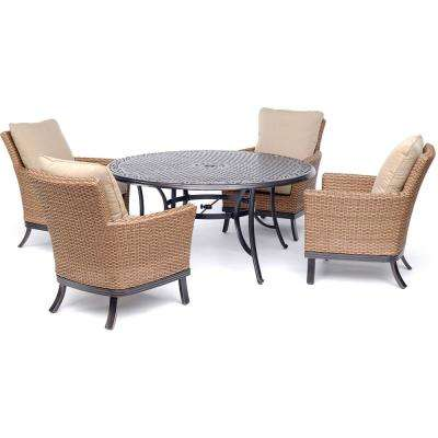 Traditions 5-Piece Outdoor Dining Set with 4 Woven Chairs and Cast-Top Table