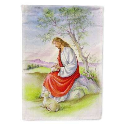 11 in. x 15-1/2 in. Polyester Jesus with Lamb 2-Sided 2-Ply Garden Flag
