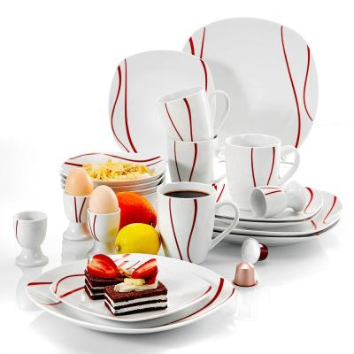 FELISA 20-Piece Porcelain White with Red Edge Plates and Bowls Set Mugs and Egg Cups(Service for 4)
