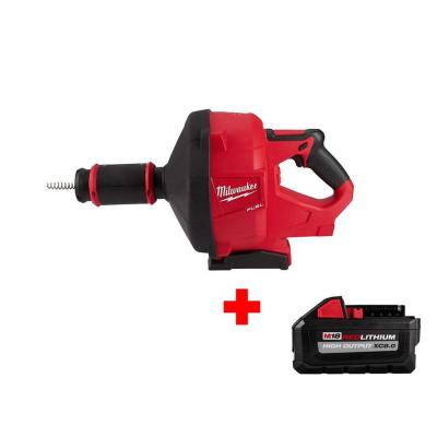 M18 FUEL 18-Volt Lithium-Ion Cordless Drain Cleaning Snake Auger with 5/16 in. Cable Drive and Free XC 8.0Ah Battery