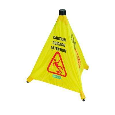 20 in. English/Spanish/French Pop-Up Caution Cone with Carrier (Case of 12)