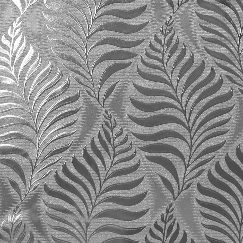 Foil Embossed Leaf Silver Vinyl Wallpaper