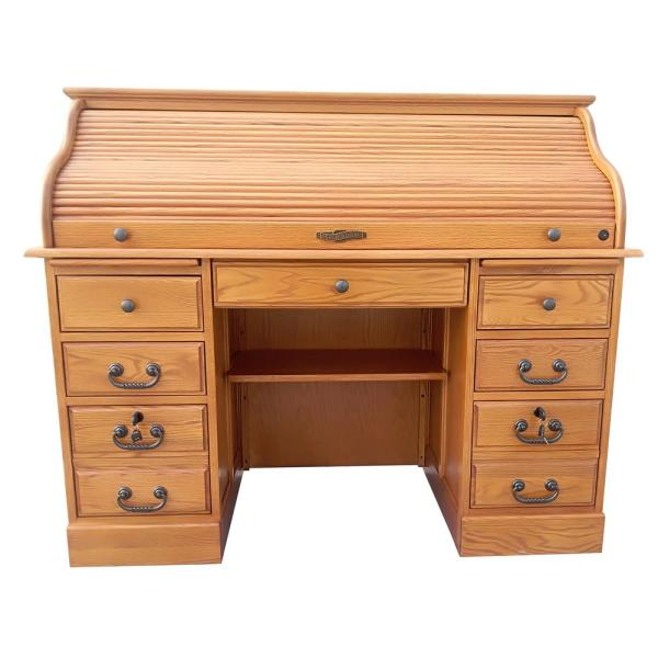 Chelsea Home Furniture 54 In Oak Rectangular 17 Drawer Secretary Desk With Keyboard Tray 828951 D H The Home Depot