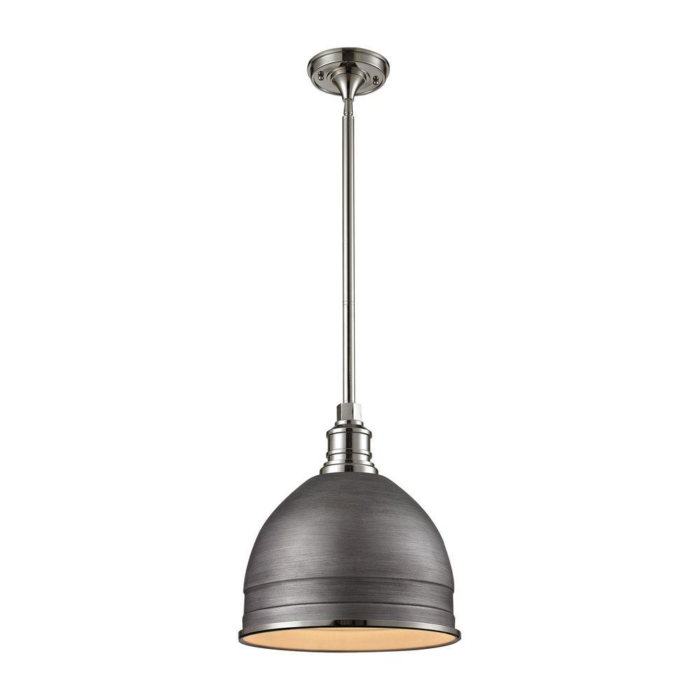 Titan Lighting Carolton 1-Light Weathered Zinc/Polished Nickel Pendant - Titan Lighting Carolton 1-Light Weathered Zinc/Polished Nickel