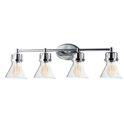 Seafarer 4-Light Polished Chrome Vanity Light with Clear Seedy Glass Shades